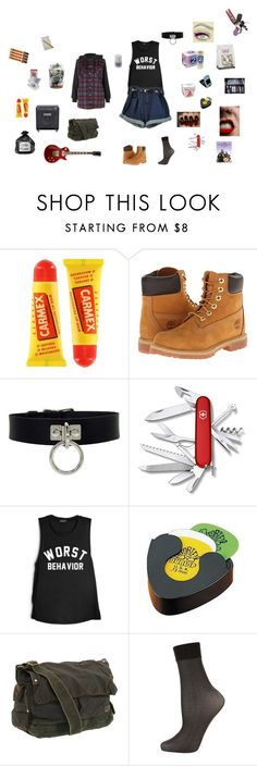 """""""Cayenne"""" by nephilim123 ❤ liked on Polyvore featuring Topshop, Carmex, Timberland, BC, Victorinox Swiss Army, Dunlop and Bed Stü"""