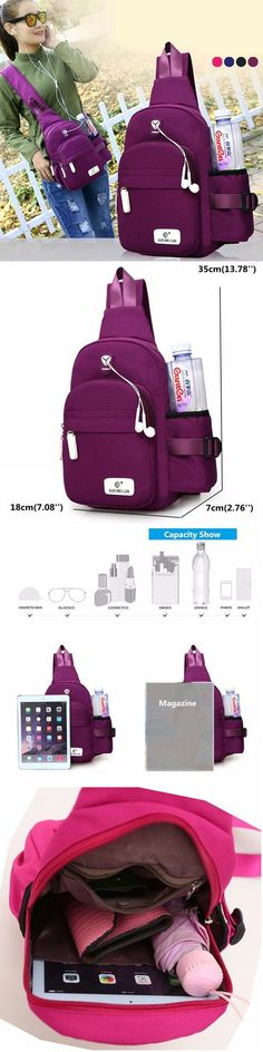 US$14.68 Women Nylon Daily Crossbody Bag Waterproof Travel Durable Chest Bag Shoulder Bag