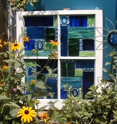 This Garden Glass Window is called 'Geo Blue/Green'.