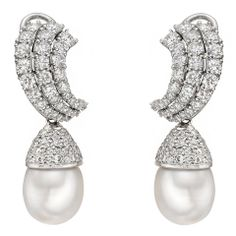 South Sea Pearl & Diamond Drop Earclips
