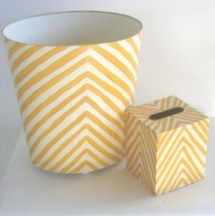 Yellow Zebra Print Wastebasket with Optional Tissue Box $135.00 (USD).  Product in photo is from www.wellappointedhouse.com