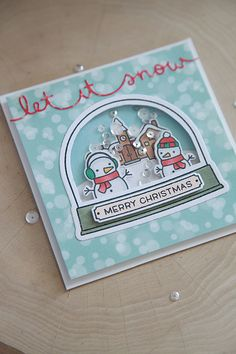 This is a unique version of a snow globe skater card made with Lawn Fawn supplies. Merry Christmas! :)