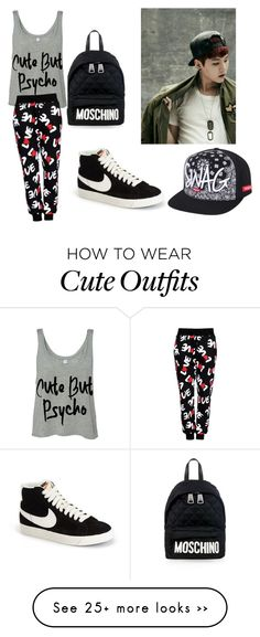 """""""BTS Suga outfit"""" by ryeseong on Polyvore featuring Moschino, Love Moschino and NIKE"""