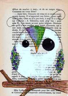 lime and violet spring owl --- 5x7 print of an original drawing on vintage French book page --- high quality card stock print
