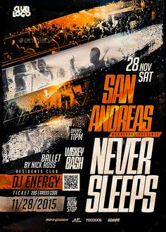 Flyer City Never Sleeps Flyer Template - http://ffflyer.com/flyer-city-never-sleeps-flyer-template/ Enjoy downloading the Flyer City Never Sleeps Flyer Template created by MonkeyBOX   #Club, #Cosplay, #Costume, #Elegant, #Event, #Gold, #Halloween, #Horror, #Nightclub, #Party, #Scary