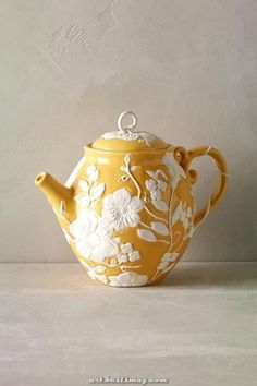 V is for vines~ Petal Vines Teapot . molded raised white flower and vine decoration on gold yellow body and lid, w/ vine wrapped handle & short spout, c. Chocolate Pots, Chocolate Coffee, Teapots And Cups, My Tea, Mellow Yellow, Mustard Yellow, Porcelain Ceramics, Serveware, Tableware