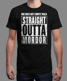 """Straight Outta Mordor"" is today's £8/€10/$12 tee for 24 hours only on www.Qwertee.com Pin this for a chance to win a FREE TEE this weekend. Follow us on pinterest.com/qwertee for a second! Thanks:)"