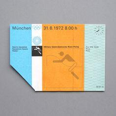Equestrian ticket design - 1972 Olympic Games, by Otl Aicher Web Design, Layout Design, Design Art, Print Design, Ticket Design, Poster Design, Vintage Graphic Design, Retro Design, Helmut Schmid