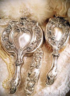 Art Nouveau Silver Vanity Set - via Ivy and Elephants