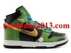 free shipping 3379c fe854 Good Halo Black Golden Green High Top Custom Nike Dunk