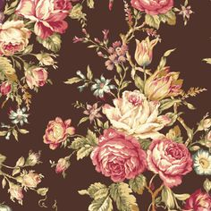 Mary Rose Quilt Gate Fabric Collection AMELIA 11F Beautiful Floral Flower Rose Bouquet on Chocolate Brown