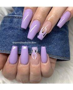 Purple Acrylic Nails, Acrylic Nails Coffin Short, Square Acrylic Nails, Coffin Shape Nails, Pastel Nails, Purple Nails With Glitter, Purple Nail Art, Black Nails, Purple Nail Designs