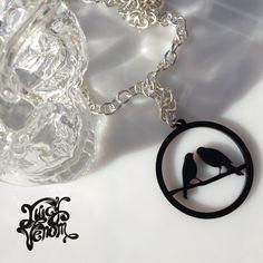 Juicy Venom Perspex Cut Out Plastic Statement Necklace 'Lovebirds' Design
