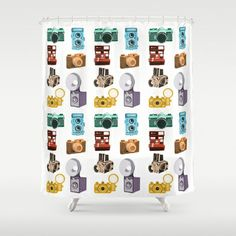 Retro Cameras Shower Curtain by Polito - $68.00- @Society6 - @HomeArtyHome Home Arty Home