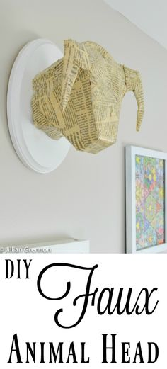 This is the easiest way to make a DIY faux animal head without any paper mache and NO sculpting! I love the newspaper detail.