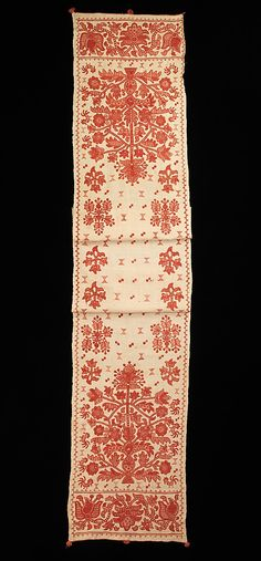 Towel Date: early 19th century Culture: Russian Medium: Linen, cotton Dimensions: 17 1/2 x 104 in. (44.5 x 264.2 cm)
