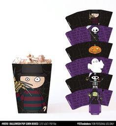 Cajas imprimibles para Halloween - Decoración fiesta de Halloween - Cajas de chuches - Decoración mesa Halloween - Archivo PDF imprimible