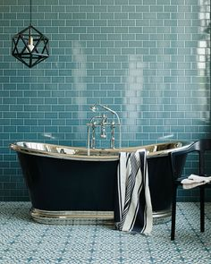 We chose the fantastically priced Metro Deco wall tiles for this shoot, alongside the equally good value cement Old Havana tiles for the… Metro Tiles Bathroom, Ensuite Bathrooms, Bathroom Floor Tiles, Tile Floor, Luxury Bathrooms, Black Bathrooms, Bad Inspiration, Bathroom Inspiration, Family Bathroom