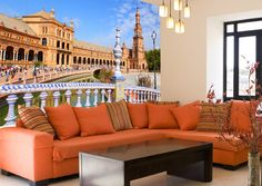 Fotomurales Plaza España Sevilla. Ideas decoración academia de español #decoración #academia #español #ideas #vinilo #TeleAdhesivo