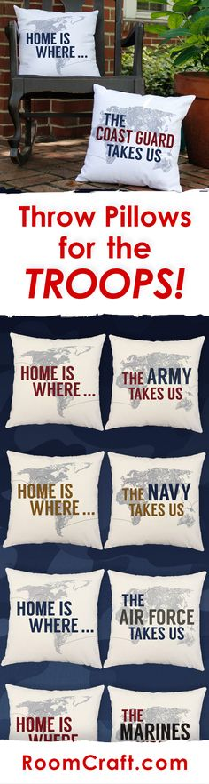 Home is where the Military takes us! Show your pride with one of our many military throw pillows. All of our patriotic pillow covers are offered in multiple colors, sizes and fabrics making them perfect for any room in your home or office. Our quality pillow covers are made to order in the USA and feature 3 wooden buttons on the back for closure. Choose your favorite and create a truly unique pillow set! #roomcraft