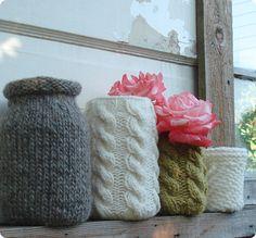 free pattern }- diy project: leigh radford's recycled glass covers ~ via design*sponge by Villie Knitting Projects, Sewing Projects, Craft Projects, Recycled Bottles, Recycled Glass, Bottles And Jars, Glass Jars, Mason Jars, Diy Jars