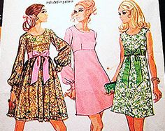 1970's Mini Empire Dress Pattern Misses size 12 Vintage Sewing Pattern