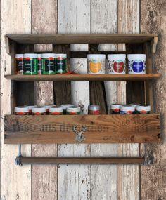 Pfalzvilla Étagère à épices faite avec caisse de vin usagée style rétro maison de campagne: Amazon.fr: Cuisine & Maison