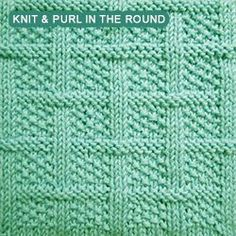 [Knit and Purl in the round] Square Lattice stitch a.k.a Lattice With Seed stitch.