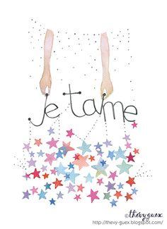 Illustration+Affiche+Aquarelle+Je+t'aime+Etoile+de+Thévy+Guex***Bijoux,Accessoires,Déco+univers+enfant,Illustrations...+sur+DaWanda.com