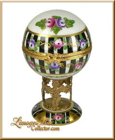 Floral Globe on Stand Limoges Box - Retired