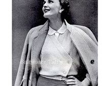 Paris Couture, Sweater, Large Sized, Knitting Pattern, American Version, INSTANT DOWNLOAD, PDF Pattern, Vintage Clothing,1950, Cardigan, Xl