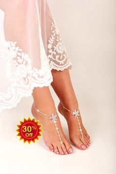 0f858b3b8190d Starfish Beaded Barefoot Sandals Anklet Beach by FancyyFeets Barefoot  Shoes