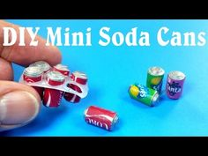 Miniature soda cans using paper, hot glue and paint. Printable  labels also included in tutorial