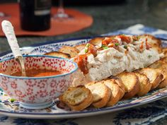 Cream Cheese Crab Spread with Homemade Crostini recipe from Valerie Bertinelli via Food Network