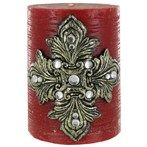 "3"" x 4"" Red Pillar Candle with Fleur-de-Lis & Gems"