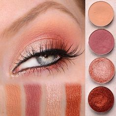 A closer look at what I wore in today's video ... and the second look with @makeupgeekcosmetics  new foiled eyeshadows! Very Spring-ish, isn't it?!  To create this look:  1⃣ In the Spotlight on inner half of lid 2⃣ Flamethrower on outer half of lid and lower lash line  3⃣ Peach Smoothie in the crease 4⃣ Cupcake to deepen/define crease 5⃣ Adding black eyeliner on the waterline makes Flamethrower more wearable on the lower lash line
