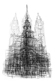 """All of the LDS temples in Utah, drawn on top of each other- the average of  all temples! The ur-temple! Note:This is a photo-reproduction of a work  originally done in graphite on paper, not an original artwork in and of  itself.  Deets: Archival digital print on 130lb Mohawk eggshell paper, 12""""x18"""".  Shipped flat, delivered in protective plastic sleeve."""