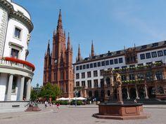 Wiesbaden - Hessischer Landtag - Marktkirche - Neues Rathaus