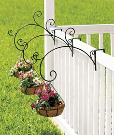 3 Rail Mount Hanging PLANTER Garden Deck Outdoor Porch Patio Decor Coco Line Pot