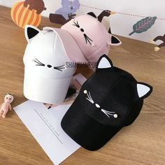 Women Cat Ear Baseball Cap Embroidery Casual Cute Adjustable Pearl Trucker Hat