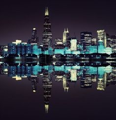 financial district  night view Chicago   Stock Photo