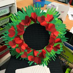 This is our ANZAC Day wreath we made for our school service today. So proud of my kids Holiday Activities, Art Activities, Art For Kids, Crafts For Kids, Kindergarten Art Projects, Anzac Day, Remembrance Day, How To Make Wreaths, Special Education