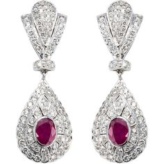 18K White Gold 4ct TDW Diamond and Rubies Estate Earrings (G-H, SI1-SI2)