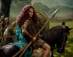 Boudicca - Queen of the Iceni Celts under Roman rule. When her husband, King Prasutagus, died in 60AD, the Romans reneged on an earlier agreement & demanded  Boudicca hand over her land & wealth. She refused & the Romans beat her & raped her daughters. In turn, Boudicca amassed & led a force of 100,000 warriors against the Roman army & very nearly defeated them... her army sacked London and held the Romans at bay for over 6 months... longer than any other military leader ever...
