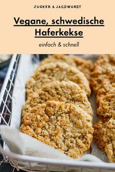 Einfache vegane Haferkekse snacks on the go Schwedische Haferkekse Easy Baking Recipes, Easy Cookie Recipes, Healthy Dessert Recipes, Easy Desserts, Health Desserts, Oatmeal Recipes, Vegan Recipes, Dessert Food, Health Foods