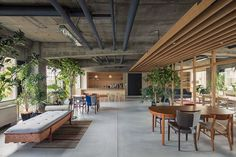 25 Modern Office Spaces that Blend with Nature - Office and Work Space Ideas - Design Industrial Office Design, Modern Office Design, Office Interior Design, Office Interiors, Office Designs, Japanese Modern, Japanese Interior, Architecture Office, Architecture Design