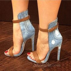 Stylish Denim Ankle Strap Stiletto Sandals my sexy shoes 1 Schnür Heels, Ankle Strap High Heels, Stilettos, Stiletto Heels, Denim Heels, Denim Sandals, Blue Sandals, Heeled Sandals, Gladiator Sandals