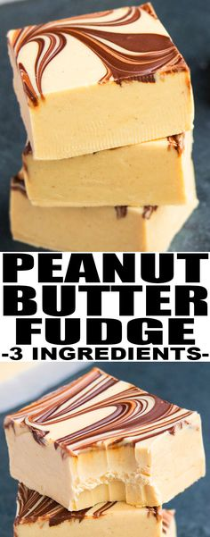Quick and easy PEANUT BUTTER FUDGE recipe, made in the microwave with 3 ingredients. This old fashioned fudge is rich and creamy with chocolate swirls. {Ad} From cakewhiz.com #peanutbutter #fudge #dessert #recipes #chocolate