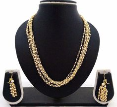 Latest Indian Bollywood 18K Gold Plated Pearl 6 Line Fashion Necklace Earrings  #ShouryaExports #EthnicandContemporary