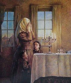 Shabbat where on friday night the mother brings in the Sabbath by lighing candles and blessing her children.